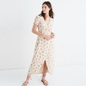 Madewell Beige Silk Field Bouquet Maxi Dress 0